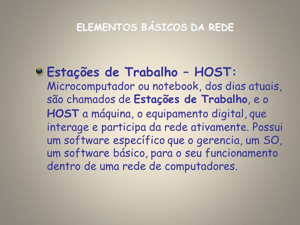 Estações de Trabalho – HOST: Microcomputador ou notebook, dos dias atuais, são chamados de Estações de Trabalho, e o HOST a máquina, o equipamento dig