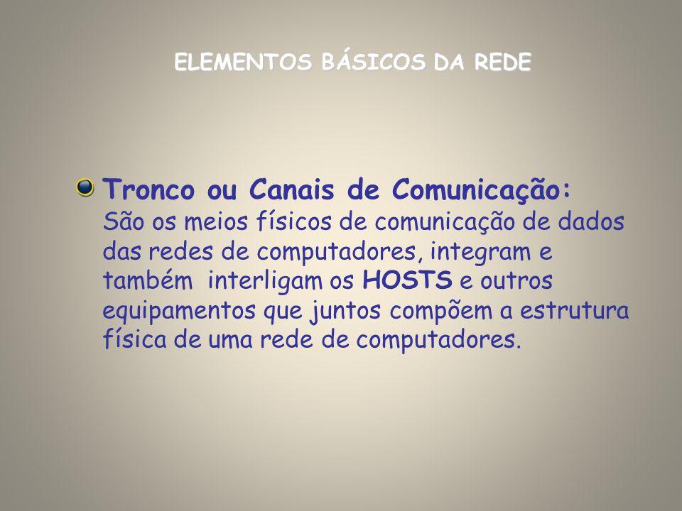 Tronco ou Canais de Comunicação: São os meios físicos de comunicação de dados das redes de computadores, integram e também interligam os HOSTS e outro