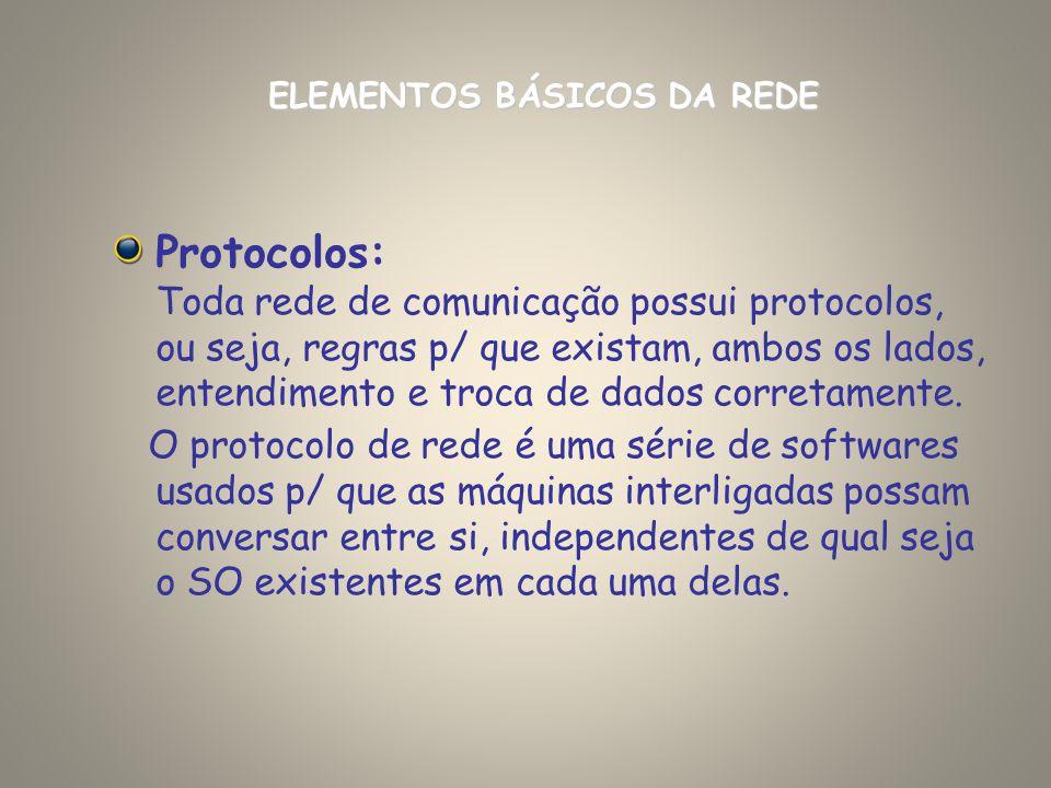 Protocolos: Toda rede de comunicação possui protocolos, ou seja, regras p/ que existam, ambos os lados, entendimento e troca de dados corretamente. O