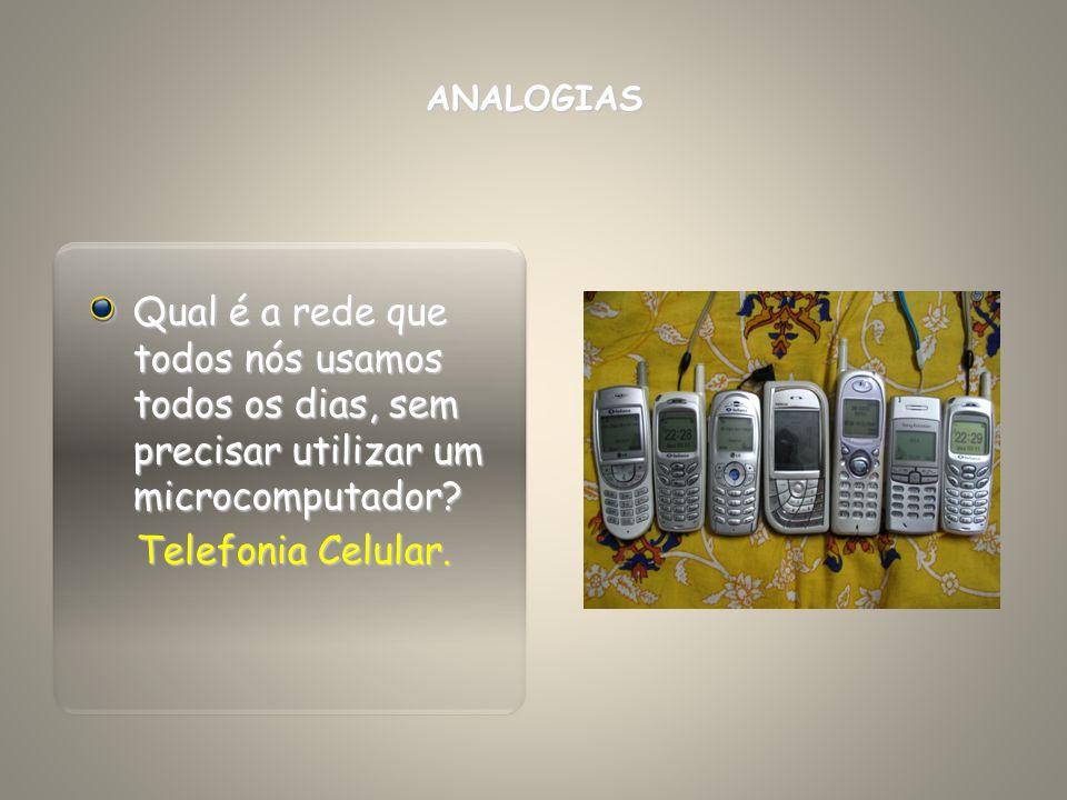 ANALOGIAS Qual é a rede que todos nós usamos todos os dias, sem precisar utilizar um microcomputador? Telefonia Celular. Telefonia Celular.
