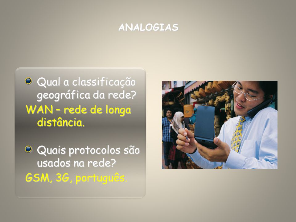 Qual a classificação geográfica da rede? WAN – rede de longa distância. Quais protocolos são usados na rede? GSM, 3G, português. ANALOGIAS