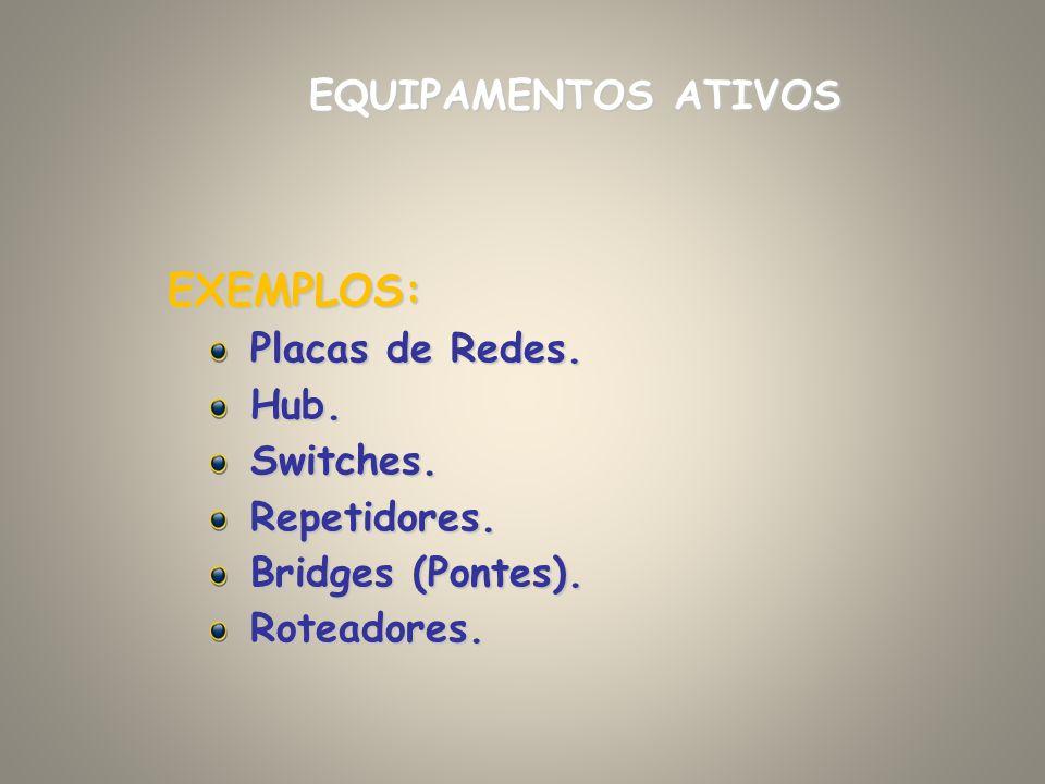 EQUIPAMENTOS ATIVOS EXEMPLOS: Placas de Redes. Hub.Switches.Repetidores. Bridges (Pontes). Roteadores.