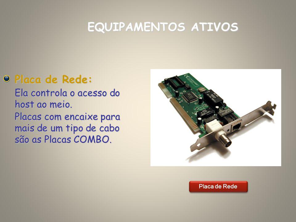 Placa de Rede: Ela controla o acesso do host ao meio. Placas com encaixe para mais de um tipo de cabo são as Placas COMBO. EQUIPAMENTOS ATIVOS Placa d