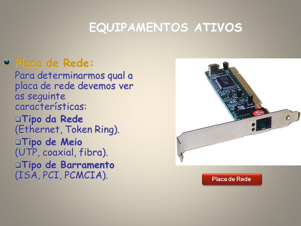 Placa de Rede: Para determinarmos qual a placa de rede devemos ver as seguinte características: Tipo da Rede (Ethernet, Token Ring). Tipo da Rede (Eth