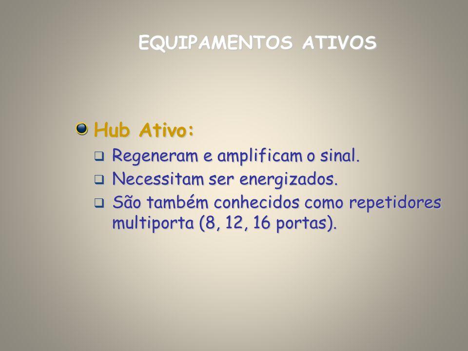 Hub Ativo: Regeneram e amplificam o sinal. Regeneram e amplificam o sinal. Necessitam ser energizados. Necessitam ser energizados. São também conhecid