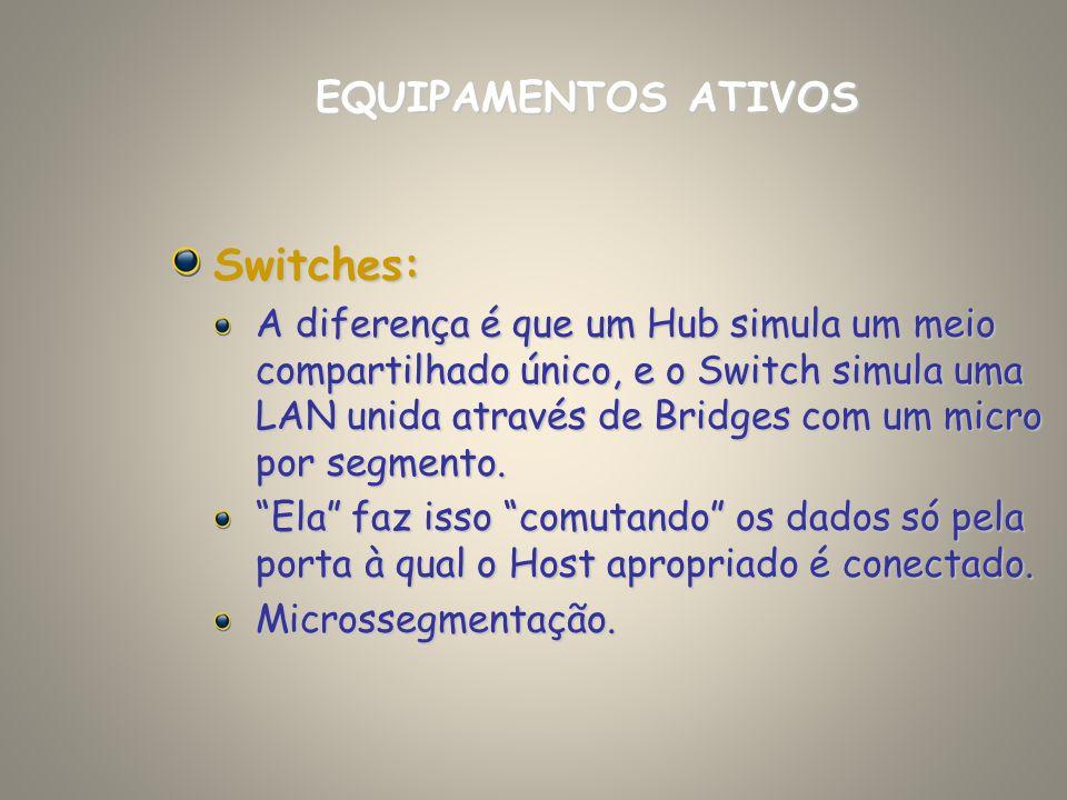 Switches: A diferença é que um Hub simula um meio compartilhado único, e o Switch simula uma LAN unida através de Bridges com um micro por segmento. E
