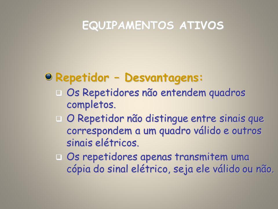 Repetidor – Desvantagens: Os Repetidores não entendem quadros completos. Os Repetidores não entendem quadros completos. O Repetidor não distingue entr