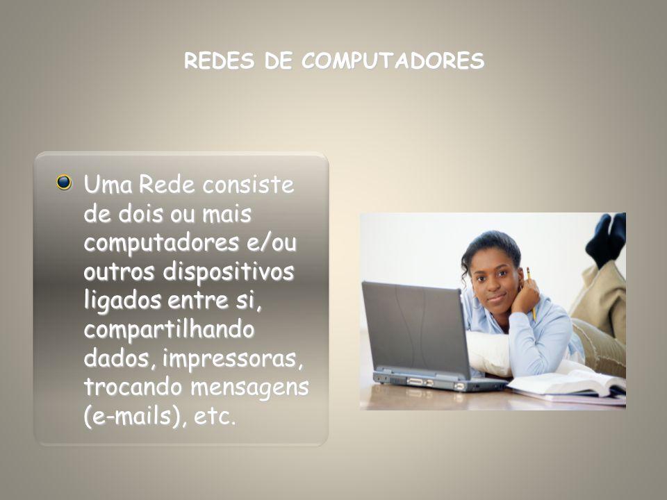 Uma Rede consiste de dois ou mais computadores e/ou outros dispositivos ligados entre si, compartilhando dados, impressoras, trocando mensagens (e-mai