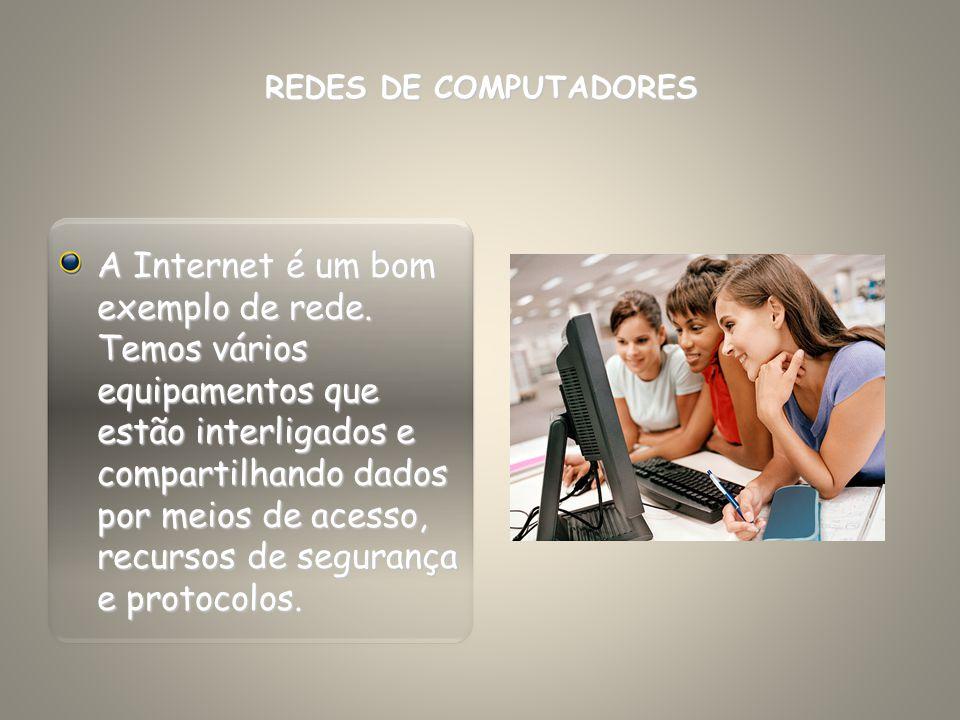 A Internet é um bom exemplo de rede. Temos vários equipamentos que estão interligados e compartilhando dados por meios de acesso, recursos de seguranç