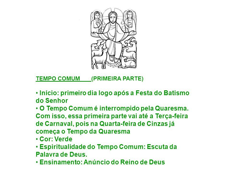 TEMPO COMUM (PRIMEIRA PARTE) Início: primeiro dia logo após a Festa do Batismo do Senhor O Tempo Comum é interrompido pela Quaresma. Com isso, essa pr