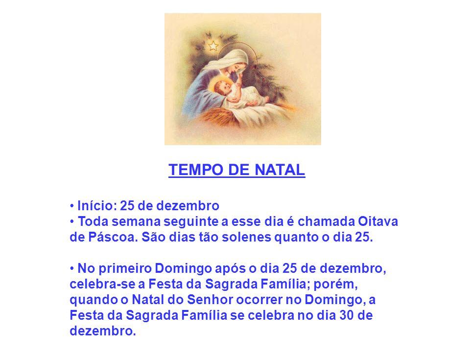 TEMPO DE NATAL Início: 25 de dezembro Toda semana seguinte a esse dia é chamada Oitava de Páscoa. São dias tão solenes quanto o dia 25. No primeiro Do