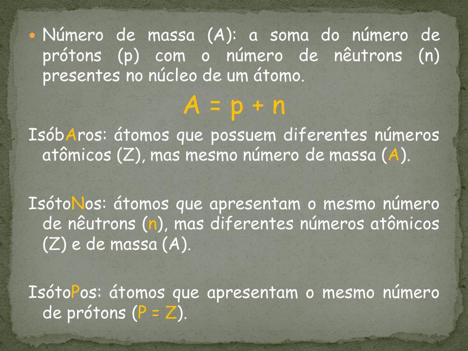 Número de massa (A): a soma do número de prótons (p) com o número de nêutrons (n) presentes no núcleo de um átomo. A = p + n IsóbAros: átomos que poss