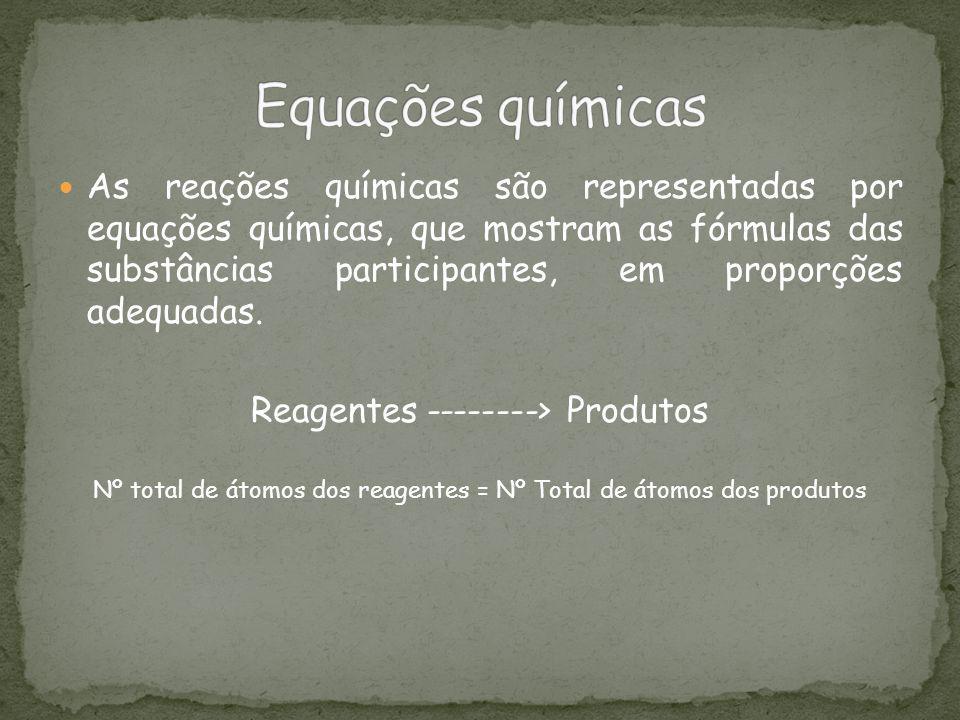 As reações químicas são representadas por equações químicas, que mostram as fórmulas das substâncias participantes, em proporções adequadas. Reagentes