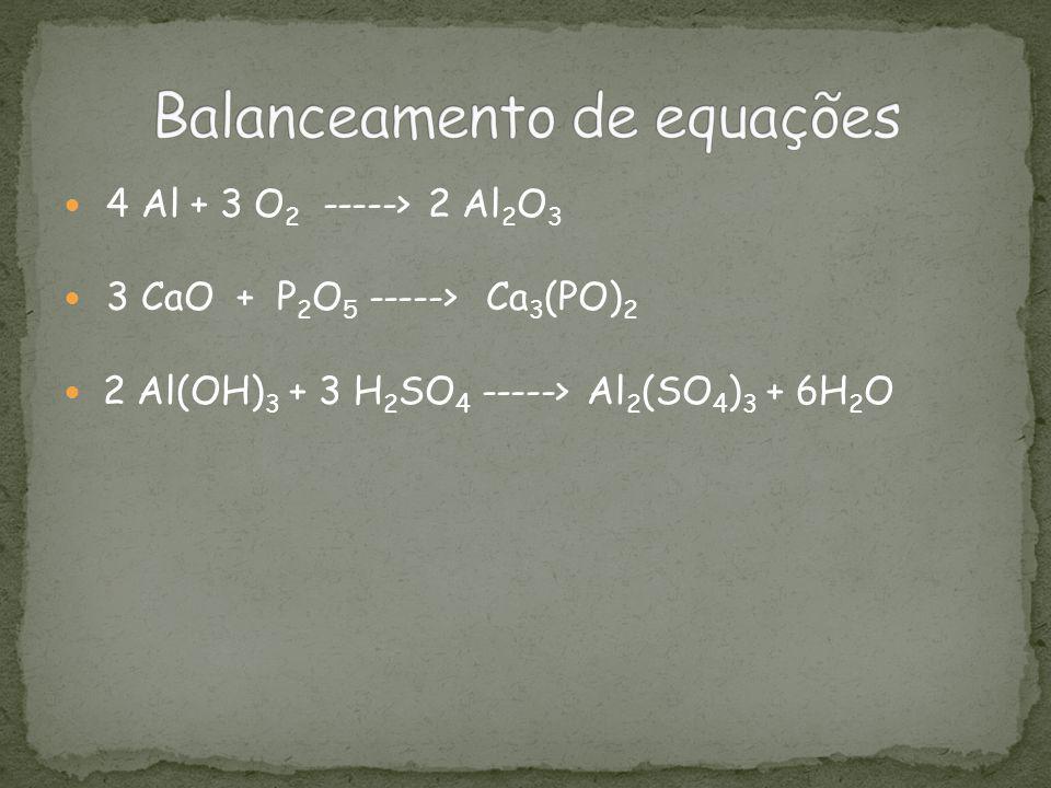 4 Al + 3 O 2 -----> 2 Al 2 O 3 3 CaO + P 2 O 5 -----> Ca 3 (PO) 2 2 Al(OH) 3 + 3 H 2 SO 4 -----> Al 2 (SO 4 ) 3 + 6H 2 O