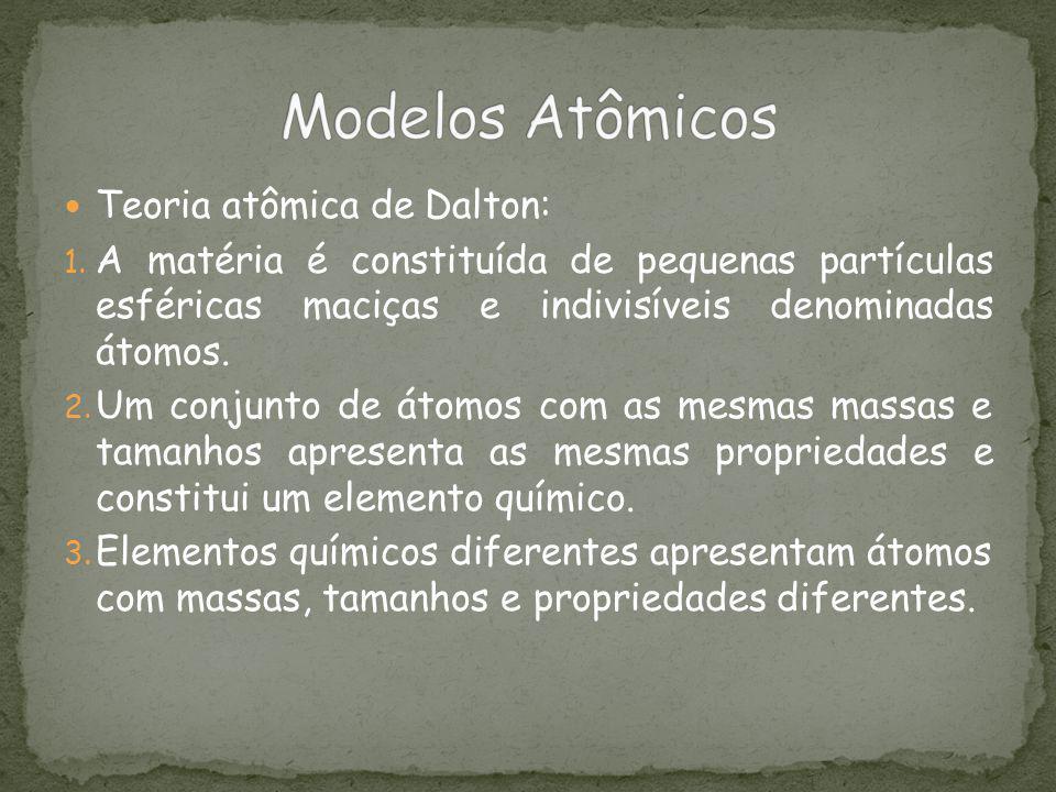 Teoria atômica de Dalton: 1. A matéria é constituída de pequenas partículas esféricas maciças e indivisíveis denominadas átomos. 2. Um conjunto de áto