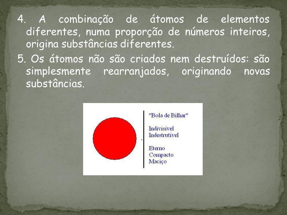 4. A combinação de átomos de elementos diferentes, numa proporção de números inteiros, origina substâncias diferentes. 5. Os átomos não são criados ne
