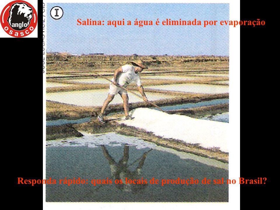 Salina: aqui a água é eliminada por evaporação Responda rápido: quais os locais de produção de sal no Brasil?