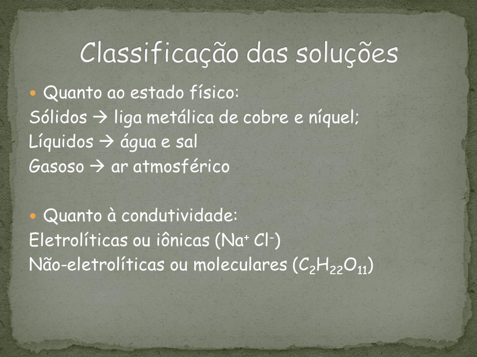Quanto ao estado físico: Sólidos liga metálica de cobre e níquel; Líquidos água e sal Gasoso ar atmosférico Quanto à condutividade: Eletrolíticas ou i