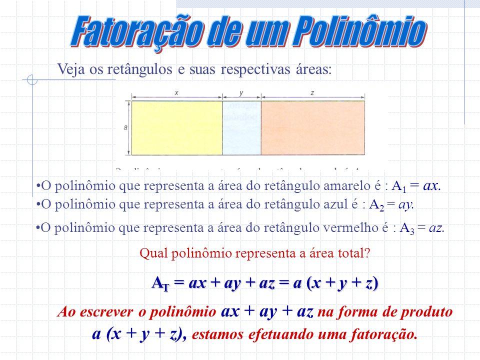 Veja os retângulos e suas respectivas áreas: O polinômio que representa a área do retângulo amarelo é : A 1 = ax.