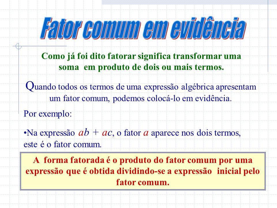 Como já foi dito fatorar significa transformar uma soma em produto de dois ou mais termos.