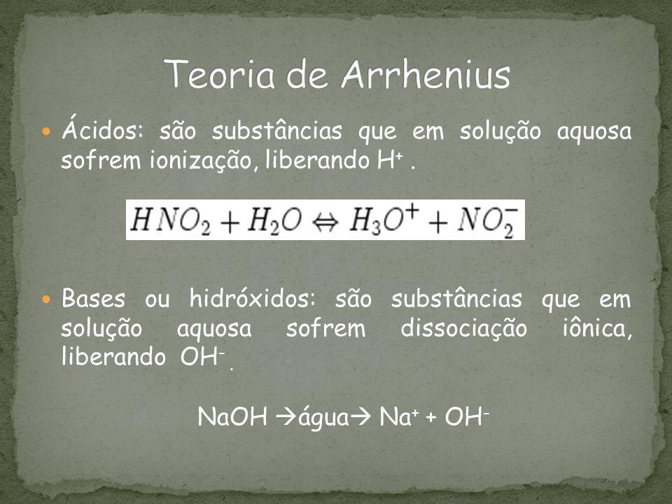 Ácidos: são substâncias que em solução aquosa sofrem ionização, liberando H +. Bases ou hidróxidos: são substâncias que em solução aquosa sofrem disso