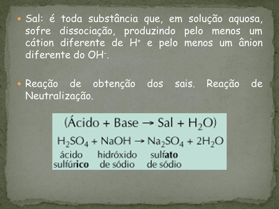 Sal: é toda substância que, em solução aquosa, sofre dissociação, produzindo pelo menos um cátion diferente de H + e pelo menos um ânion diferente do