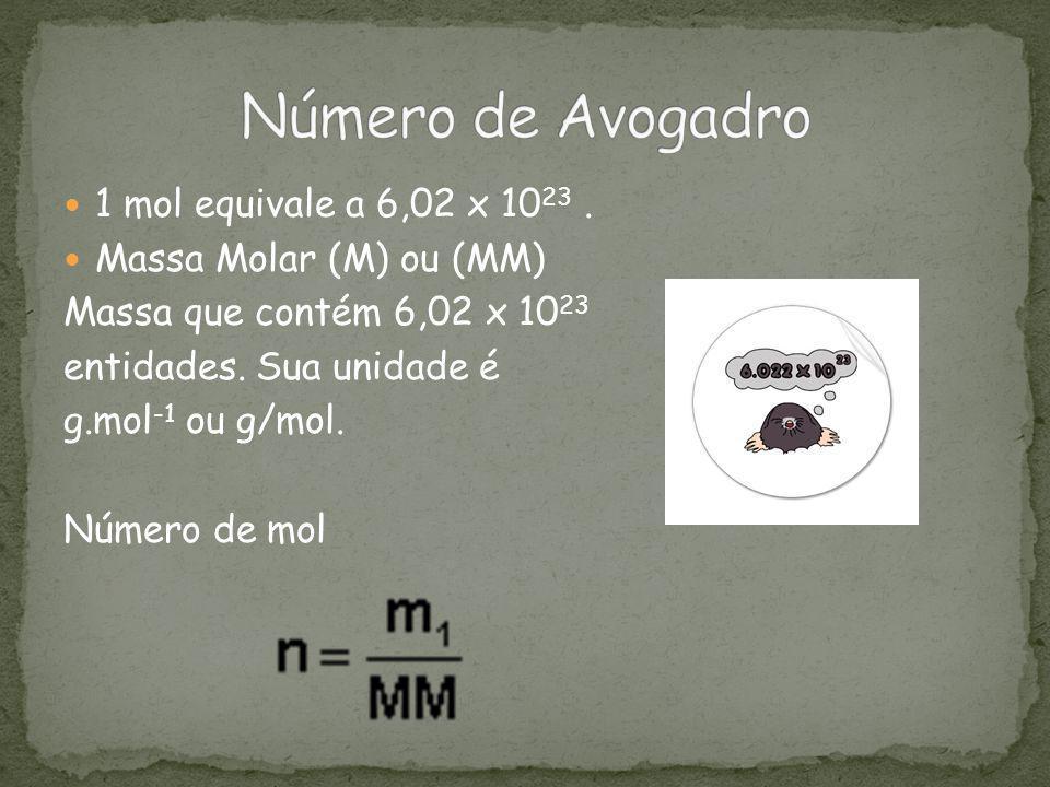 1 mol equivale a 6,02 x 10 23. Massa Molar (M) ou (MM) Massa que contém 6,02 x 10 23 entidades. Sua unidade é g.mol -1 ou g/mol. Número de mol