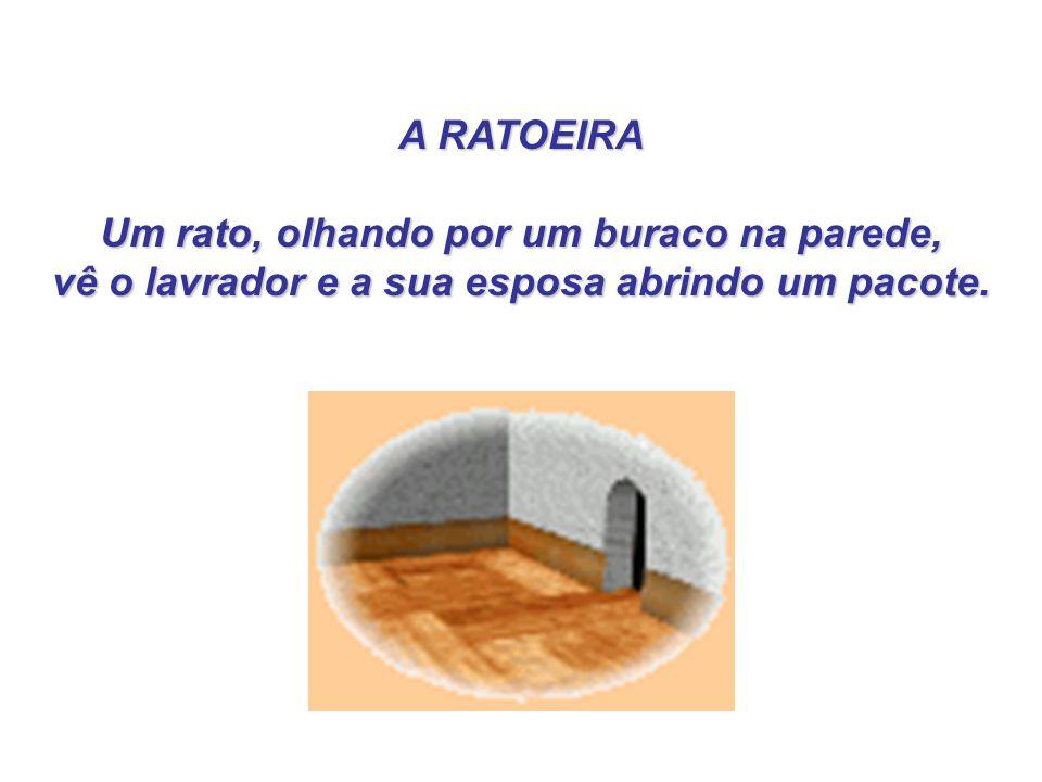 A RATOEIRA A RATOEIRA Um rato, olhando por um buraco na parede, Um rato, olhando por um buraco na parede, vê o lavrador e a sua esposa abrindo um paco