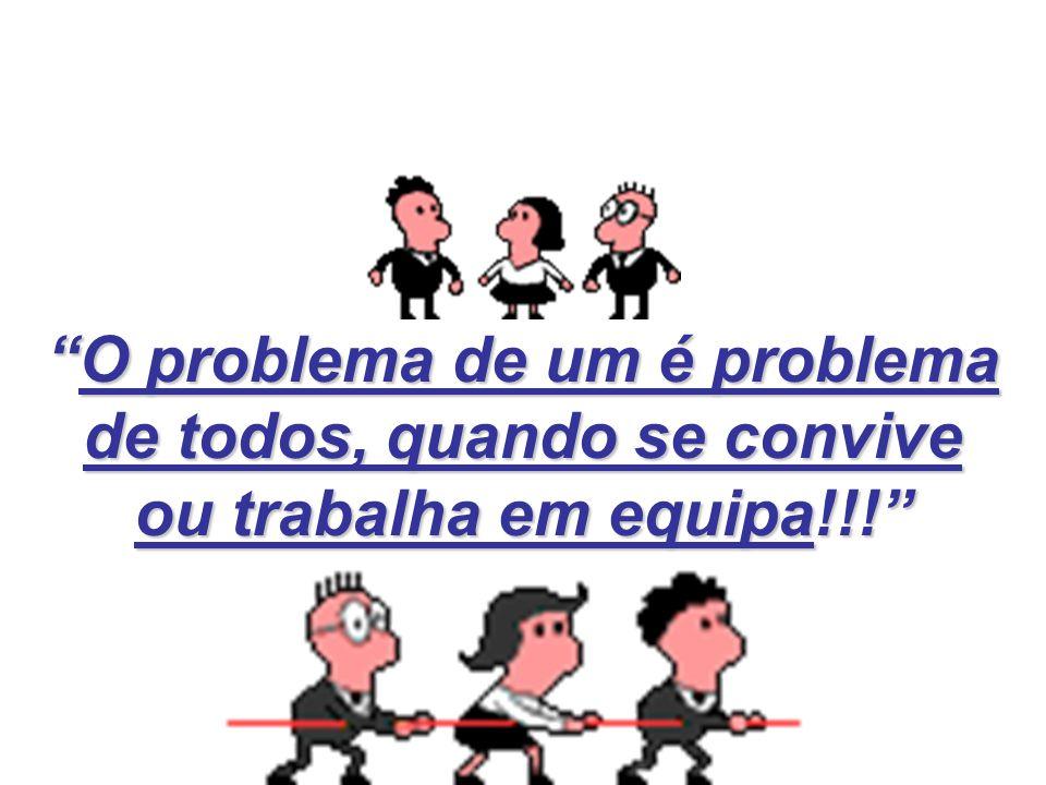 O problema de um é problema de todos, quando se convive ou trabalha em equipa!!! O problema de um é problema de todos, quando se convive ou trabalha e