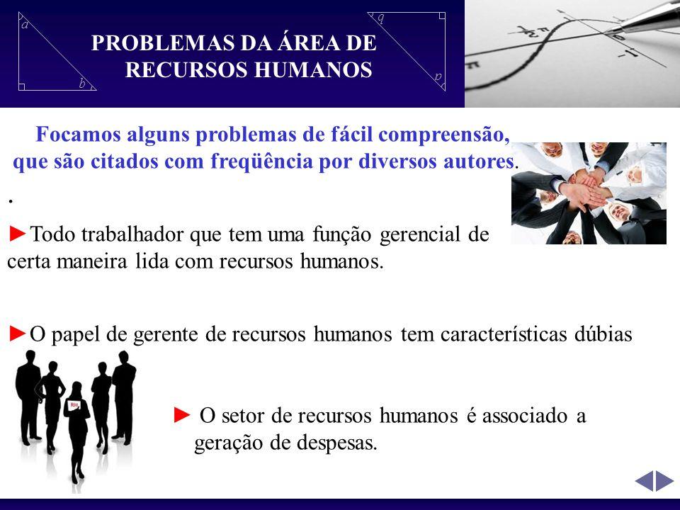 a b a b Propriedades do Triangulo Retângulo. PROBLEMAS DA ÁREA DE RECURSOS HUMANOS Focamos alguns problemas de fácil compreensão, que são citados com