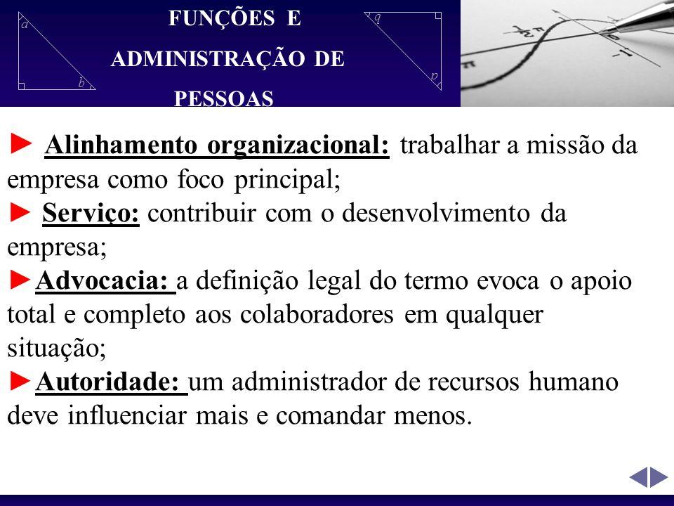 a b a b Alinhamento organizacional: trabalhar a missão da empresa como foco principal; Serviço: contribuir com o desenvolvimento da empresa; Advocacia