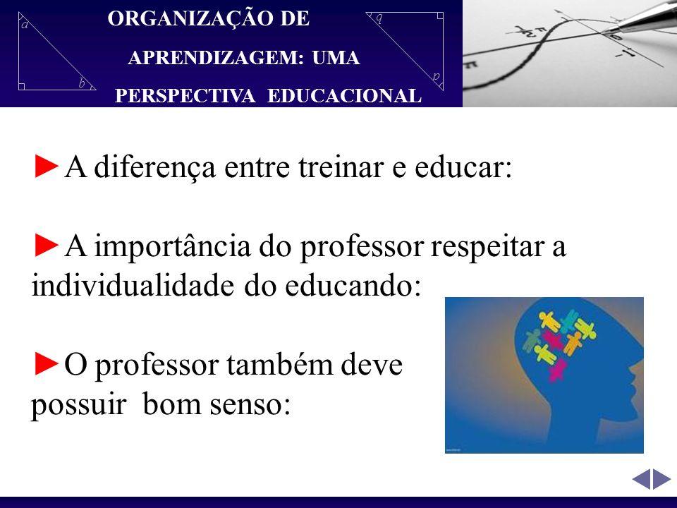 a b a b ORGANIZAÇÃO DE APRENDIZAGEM: UMA PERSPECTIVA EDUCACIONAL A diferença entre treinar e educar: A importância do professor respeitar a individual