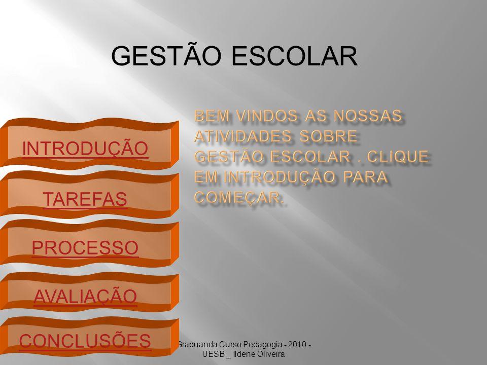 Graduanda Curso Pedagogia - 2010 - UESB _ Ildene Oliveira INTRODUÇÃO TAREFAS PROCESSO AVALIAÇÃO GESTÃO ESCOLAR CONCLUSÕES