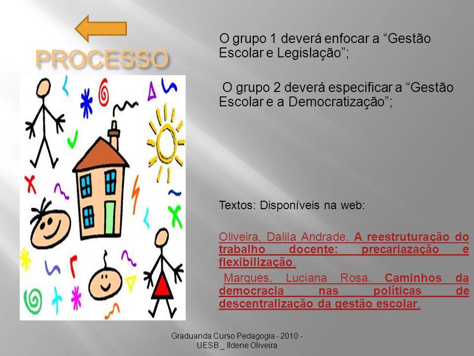 Graduanda Curso Pedagogia - 2010 - UESB _ Ildene Oliveira PROCESSO O grupo 1 deverá enfocar a Gestão Escolar e Legislação; O grupo 2 deverá especificar a Gestão Escolar e a Democratização; Textos: Disponíveis na web: Oliveira, Dalila Andrade.