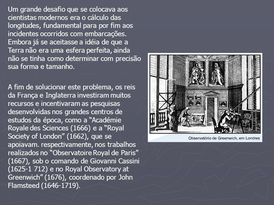 Um grande desafio que se colocava aos cientistas modernos era o cálculo das longitudes, fundamental para por fim aos incidentes ocorridos com embarcaç