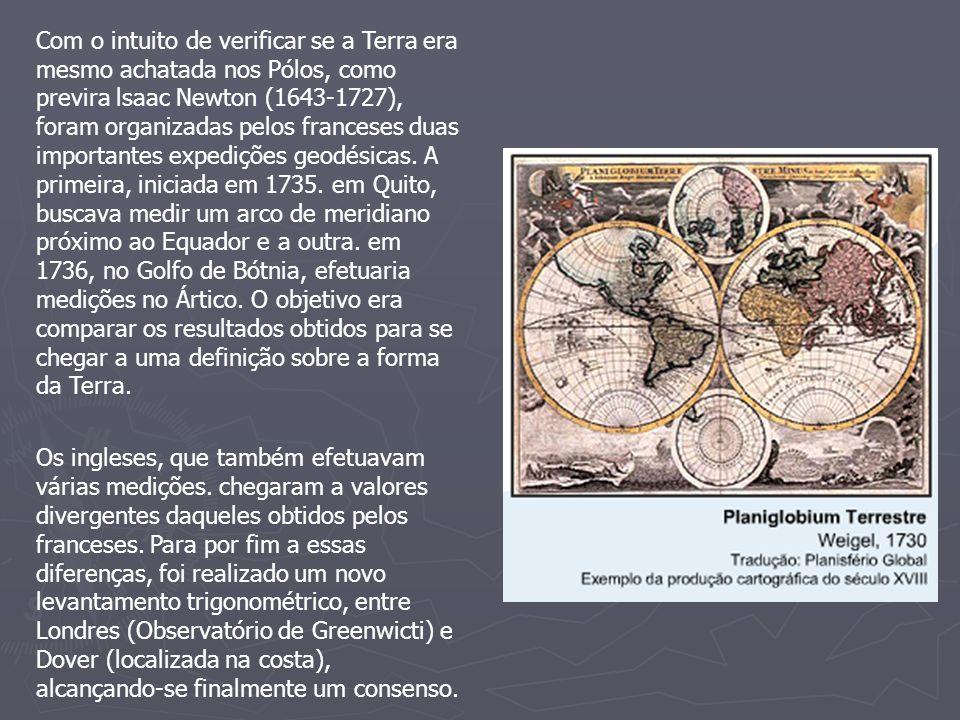 Com o intuito de verificar se a Terra era mesmo achatada nos Pólos, como previra lsaac Newton (1643-1727), foram organizadas pelos franceses duas impo