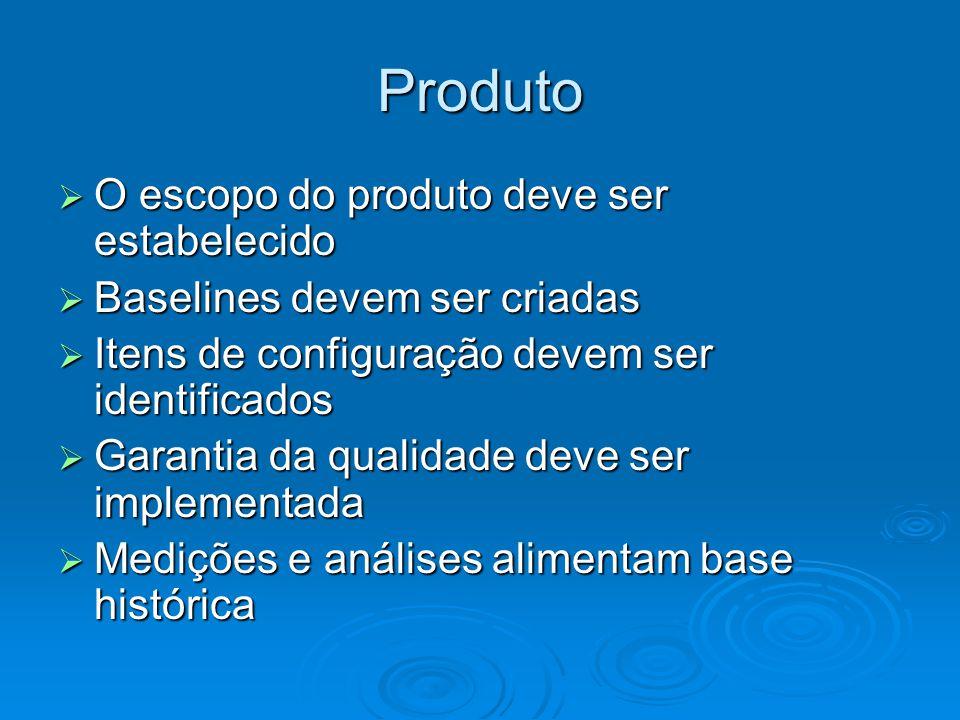 Produto O escopo do produto deve ser estabelecido O escopo do produto deve ser estabelecido Baselines devem ser criadas Baselines devem ser criadas It