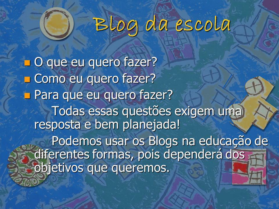 Blog da escola n O que eu quero fazer? n Como eu quero fazer? n Para que eu quero fazer? Todas essas questões exigem uma resposta e bem planejada! Pod