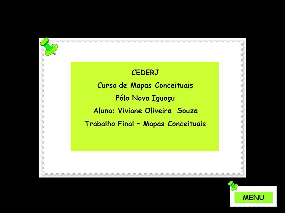 CEDERJ Curso de Mapas Conceituais Pólo Nova Iguaçu Aluna: Viviane Oliveira Souza Trabalho Final – Mapas Conceituais MENU