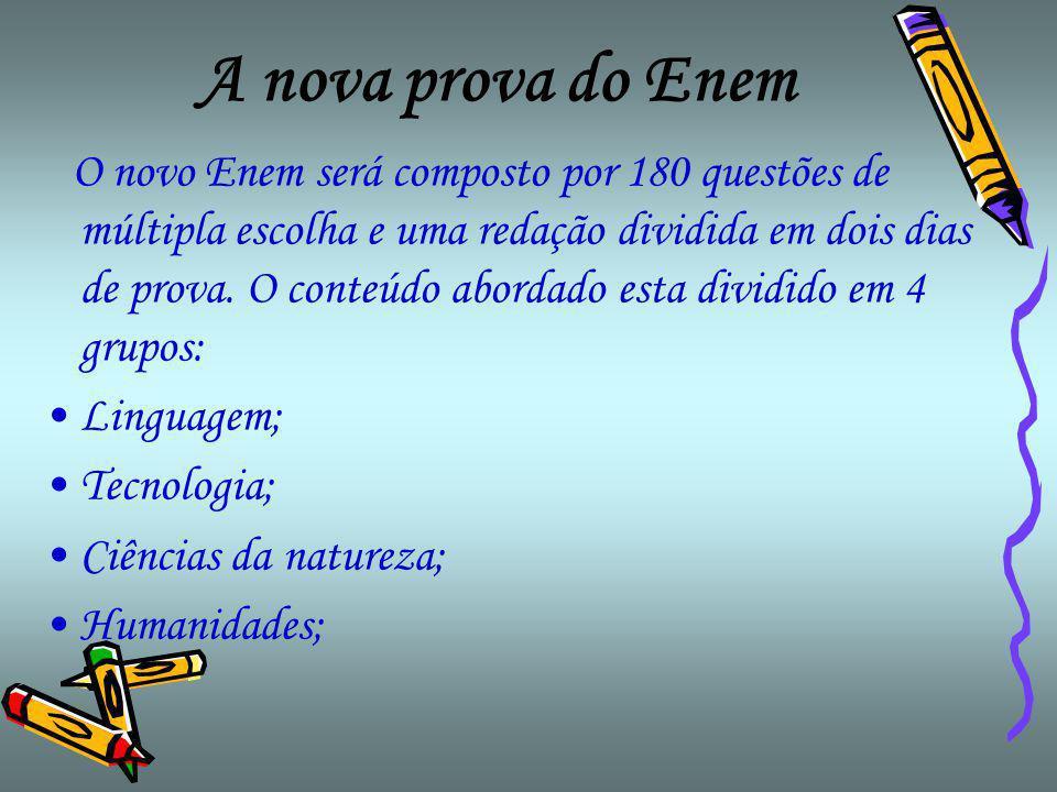 A nova prova do Enem O novo Enem será composto por 180 questões de múltipla escolha e uma redação dividida em dois dias de prova.