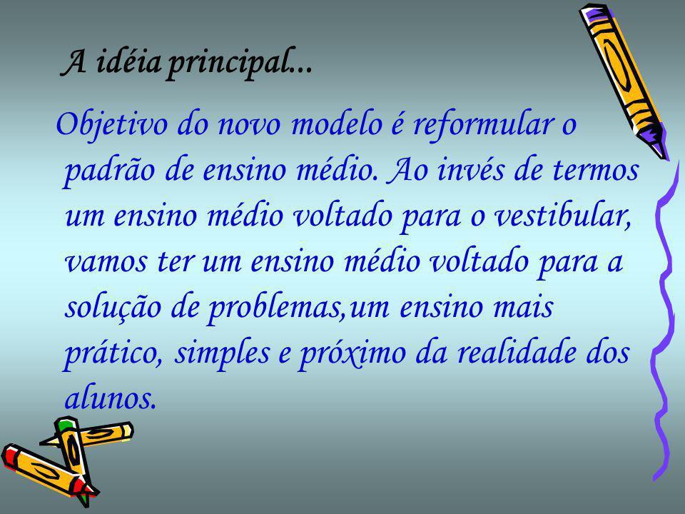 A idéia principal...Objetivo do novo modelo é reformular o padrão de ensino médio.