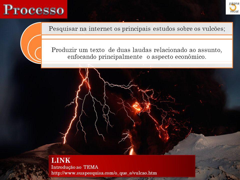 Pesquisar na internet os principais estudos sobre os vulcões; Produzir um texto de duas laudas relacionado ao assunto, enfocando principalmente o aspe