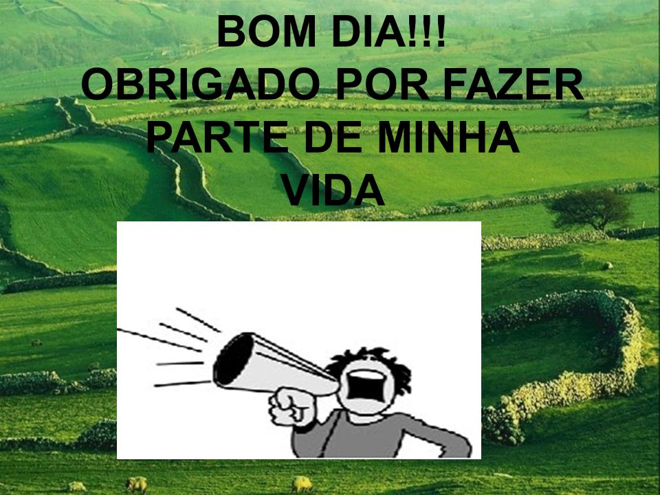 BOM DIA!!! OBRIGADO POR FAZER PARTE DE MINHA VIDA