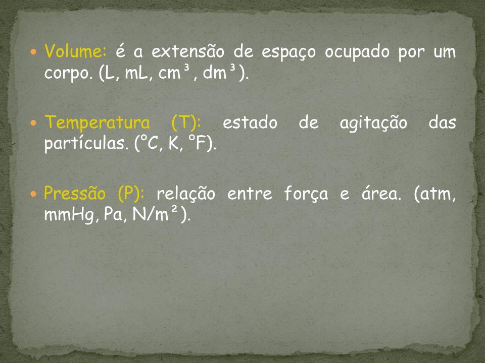 Volume: é a extensão de espaço ocupado por um corpo. (L, mL, cm³, dm³). Temperatura (T): estado de agitação das partículas. (°C, K, °F). Pressão (P):