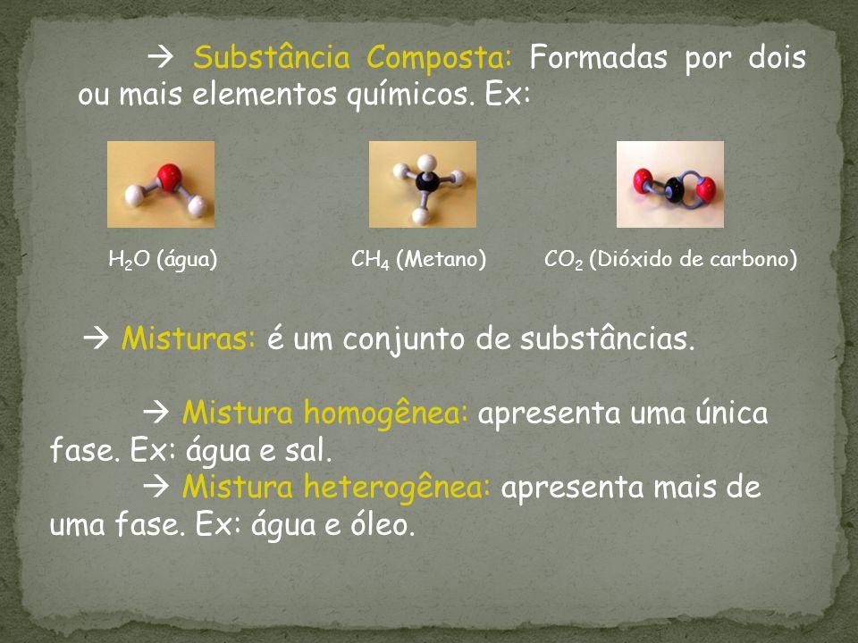 Substância Composta: Formadas por dois ou mais elementos químicos. Ex: H 2 O (água) CH 4 (Metano) CO 2 (Dióxido de carbono) Misturas: é um conjunto de