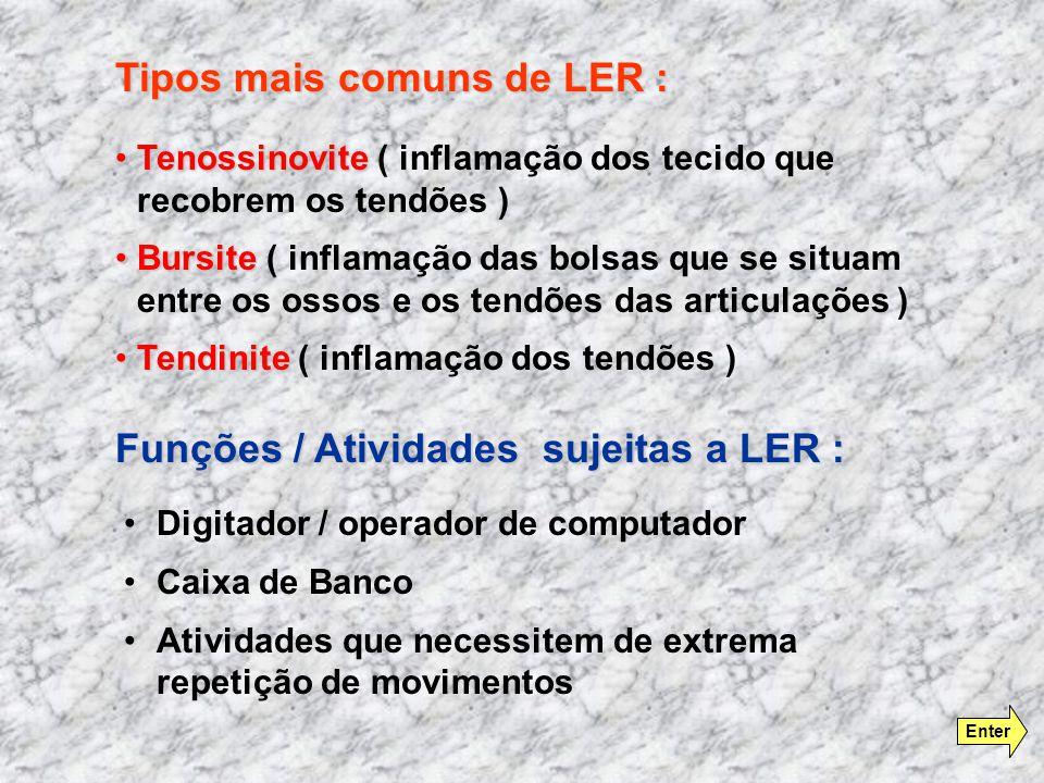 Digitador / operador de computador Caixa de Banco Atividades que necessitem de extrema repetição de movimentos TenossinoviteTenossinovite ( inflamação dos tecido que recobrem os tendões ) BursiteBursite ( inflamação das bolsas que se situam entre os ossos e os tendões das articulações ) TendiniteTendinite ( inflamação dos tendões ) Tipos mais comuns de LER : Funções / Atividades sujeitas a LER : Enter
