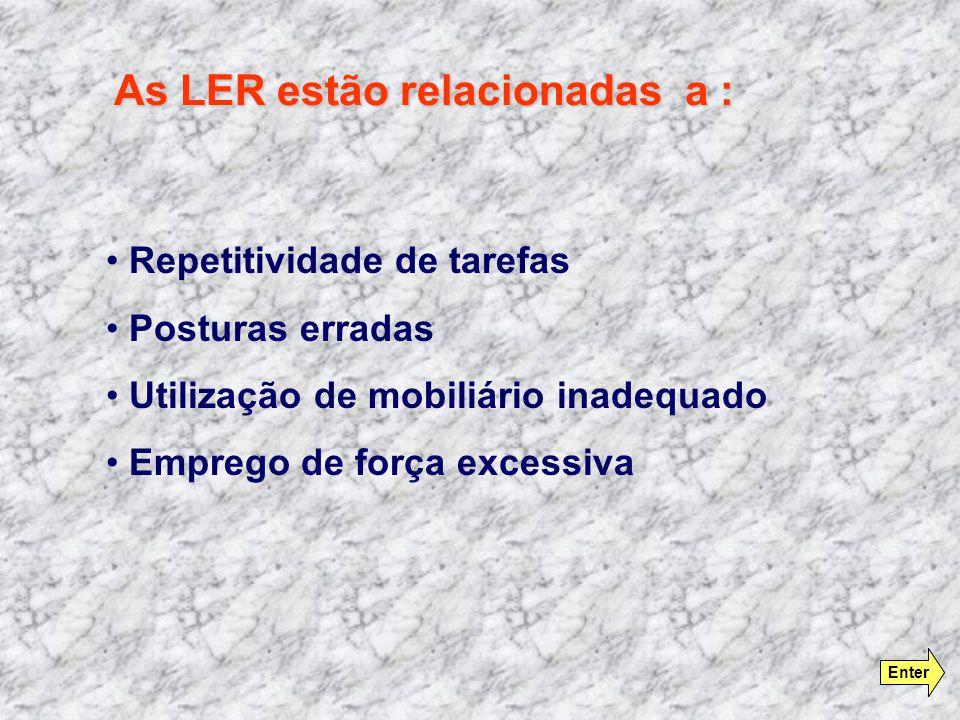 As LER estão relacionadas a : Repetitividade de tarefas Posturas erradas Utilização de mobiliário inadequado Emprego de força excessiva Enter