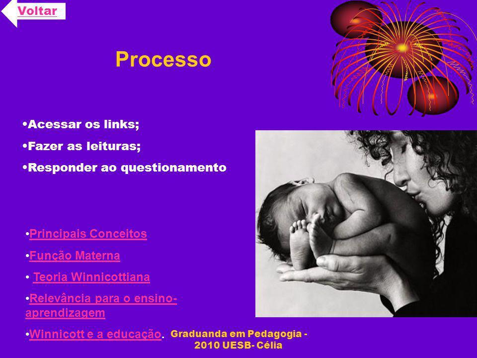 Graduanda em Pedagogia - 2010 UESB- Célia Processo Voltar Acessar os links; Fazer as leituras; Responder ao questionamento Principais Conceitos Função