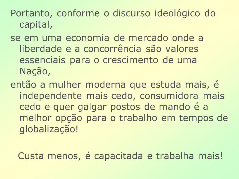 Portanto, conforme o discurso ideológico do capital, se em uma economia de mercado onde a liberdade e a concorrência são valores essenciais para o cre