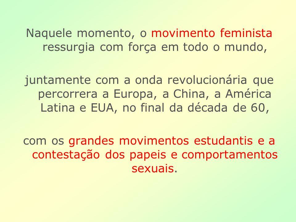 Naquele momento, o movimento feminista ressurgia com força em todo o mundo, juntamente com a onda revolucionária que percorrera a Europa, a China, a A